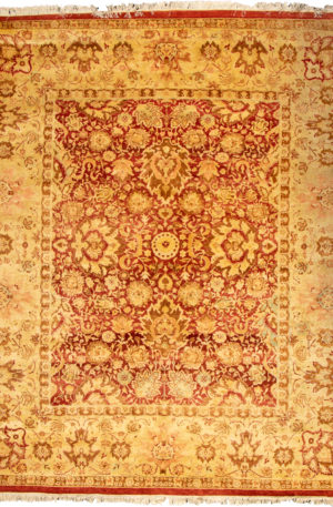 Kerman Design 8X10 Red Beige Wool Area Rug
