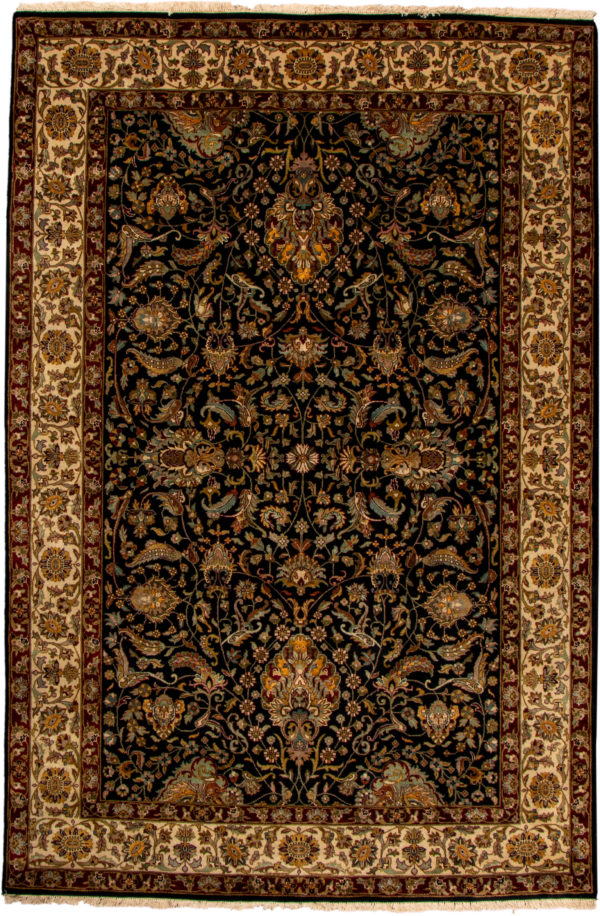 India Tabriz 6X9 Black Wool Area Rug