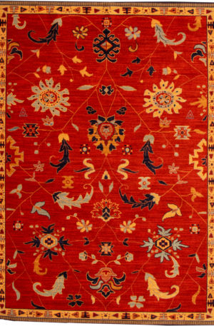 Transitional 5X8 Red Wool Area Rug