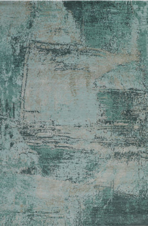 Cologne Collection 8x10 Green Wool & Silk Area Rug