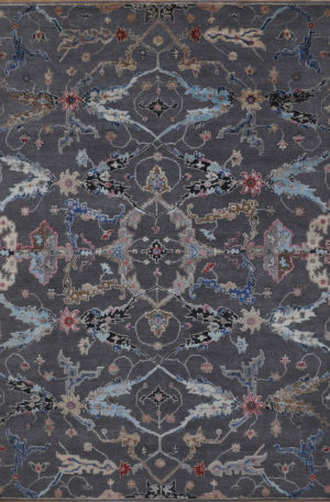 Cologne Collection 9x12 Grey Wool & Silk Area Rug
