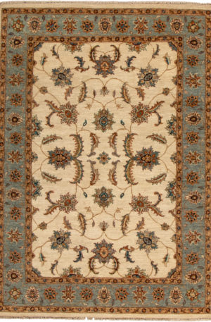 5X8 Beige Blue Wool Area Rug