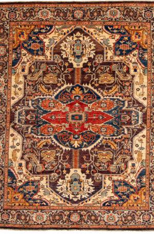 Afghani Heriz 8x10 Aubergine Wool Area Rug
