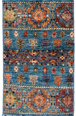 Afghani Khorjin 2x3 Blue Wool Area Rug