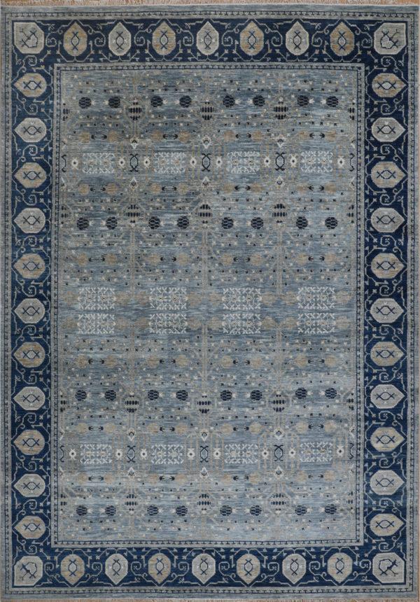 Anatolian Collection 10x14 Blue-Grey Wool Area Rug