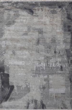 Manhattan Collection 8x10 Grey Wool & Silk Rug