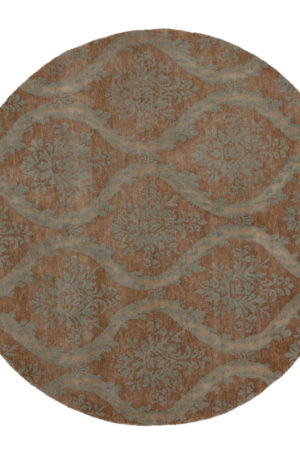 Midlands Collection 6' Round Blue Wool Area Rug
