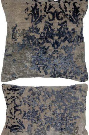Contemporary 1X2 Beige Blue Wool Pillow