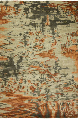 Dynasty Collection 5X8 Orange Wool Area Rug