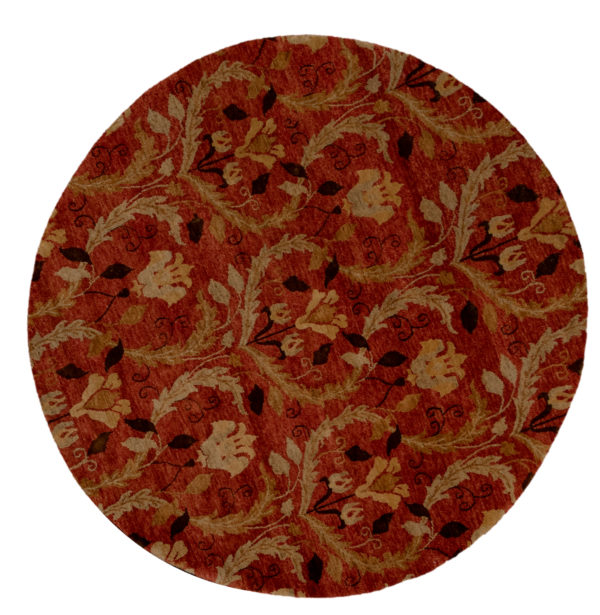 Midlands Collection 6' Round Red Area Rug