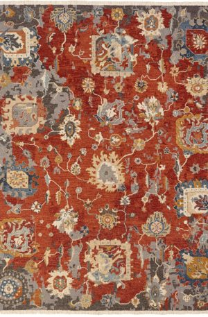 Adirondack Collection 6X9 Red Wool Area Rug