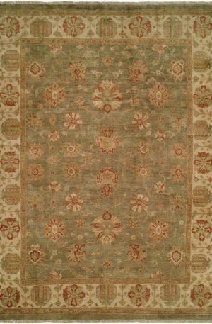 Anatolia Collection 4X6 Green Wool Area Rug
