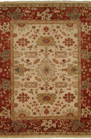 Anatolia Collection 4X6 Ivory Red Area Rug