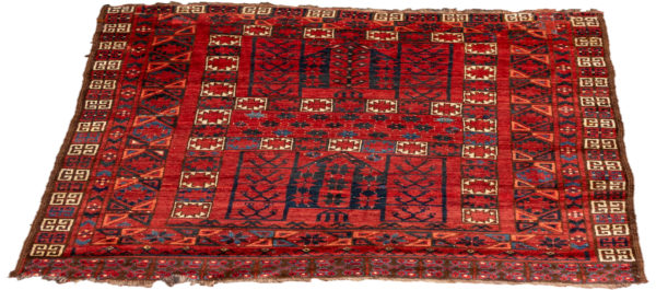 Antique Turkmenistan 4X6 Red Red Wool Area Rug