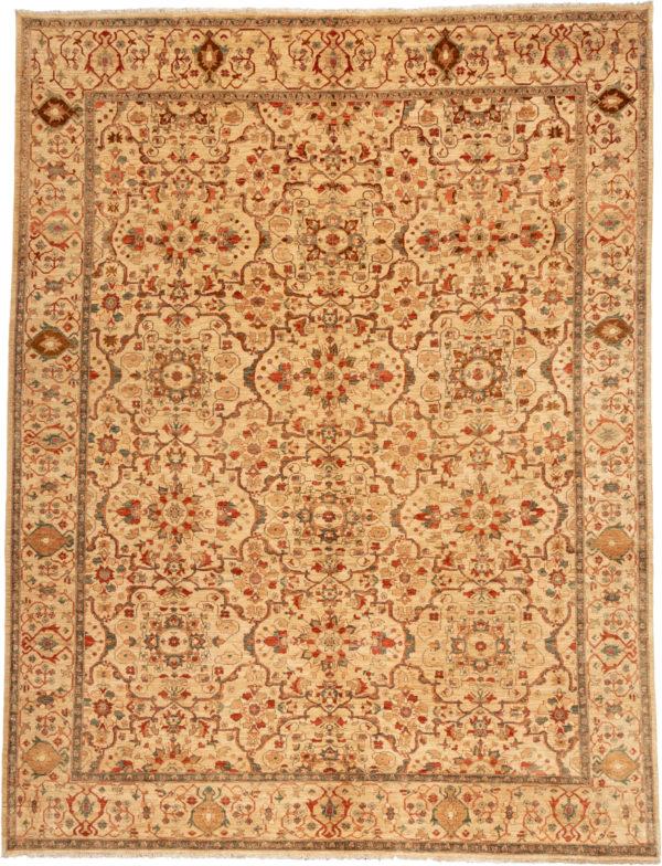 Afghan Faryab 9X12 Beige Wool Area Rug