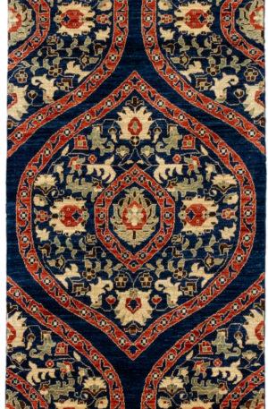 Afghani Kerman Runner Blue Wool Area Rug