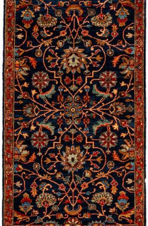 Afghani Bamiyan Runner Blue Wool Area Rug