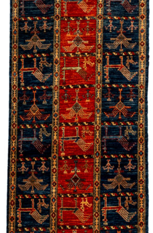 Afghani Faryab Runner Navy Wool Area Rug