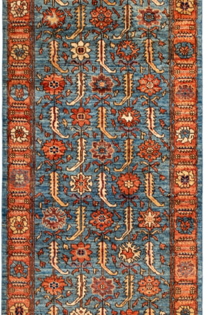 Pakistani Heriz Runner Light Blue Wool Area Rug