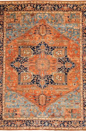 Pakistani Heriz 9x12 Blue Wool Area Rug