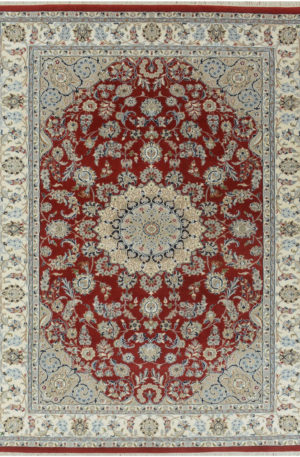 Indo Nain 2x3 Red Wool w/Viscose Area Rug