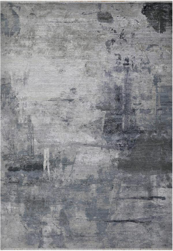 Manhattan Collection 10x14 Grey Wool & Silk Rug