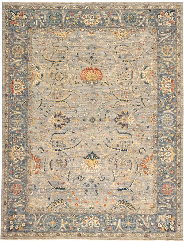 Pakistani Chobi 9x12 Grey Wool Area Rug