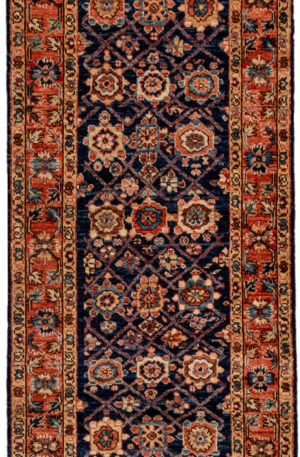 Pakistani Traditional Runner Navy Wool Area Rug