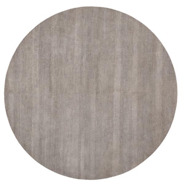 Contemporary 8' Round Grey Wool Area Rug