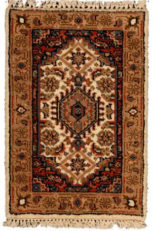 India Bidjar 1X2 Ivory Wool Area Rug