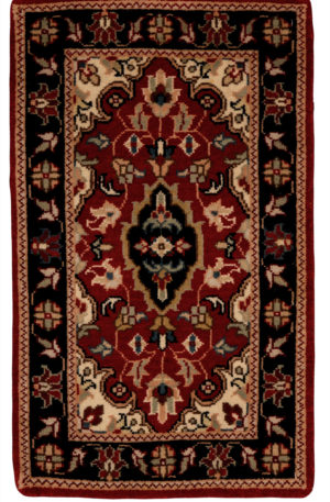 Indo Kashan 1X2 Red Wool Area Rug