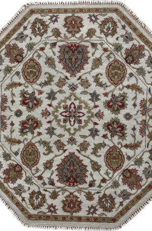 Zeigler 4' Octagon Beige Wool Area Rug