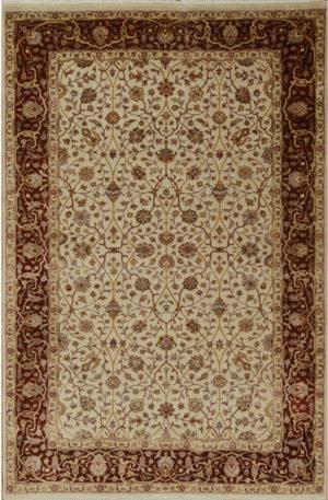 New Elegance 4x6 Beige Wool & Silk Area Rug