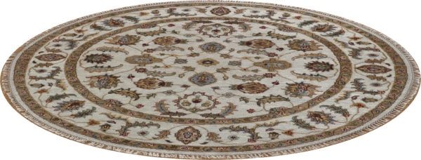 Zeigler Collection 5' Round Ivory Wool Area Rug