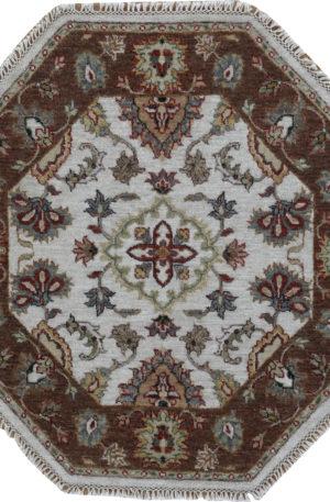 Zeigler Collection 4' Octagon Black Wool Area Rug