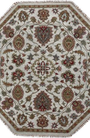 Zeigler 3' Octagon Ivory Wool Area Rug