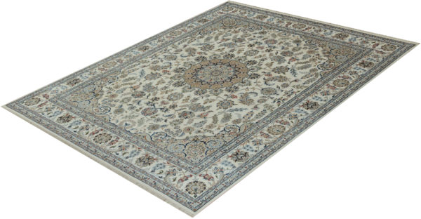 Indo Nain 8x10 Ivory Wool with Viscose Area Rug
