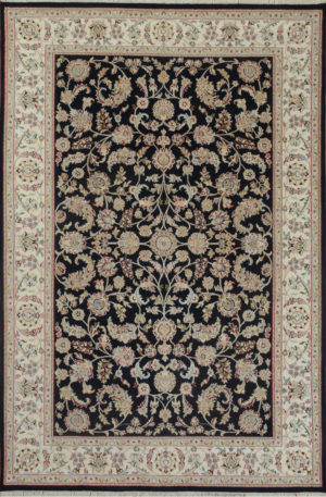 Indo Nain 6x9 Navy Wool w/ Viscose Area Rug