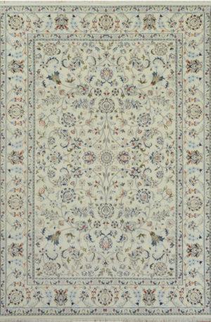 Indo Nain 4x6 Ivory Wool w/ Viscose Area Rug