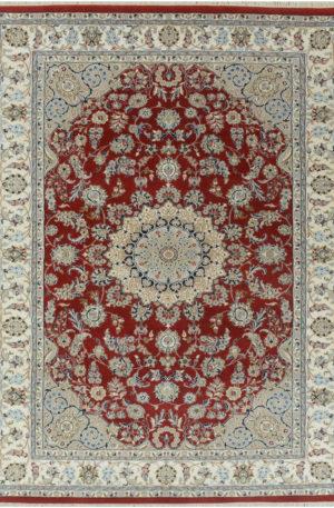 Indo Nain 6x9 Red Wool w/ Viscose Area Rug