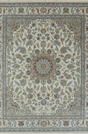 Indo Nain 9x12 Ivory Wool w/ Viscose Area Rug