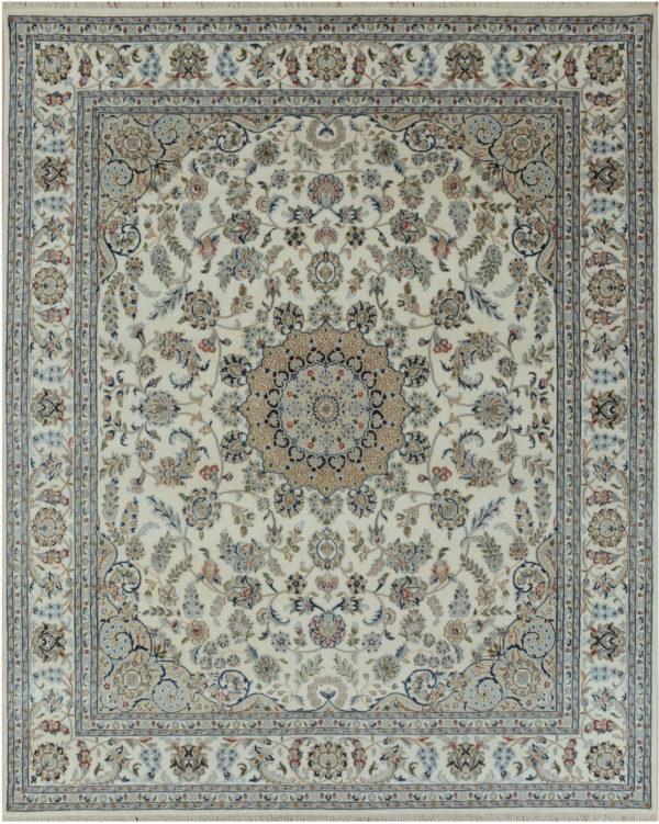 Indo Nain 6x9 Ivory Wool w/ Viscose Area Rug