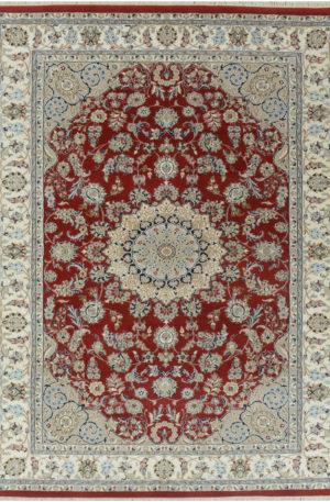 Indo Nain 4x6 Red Wool w/Viscose Area Rug