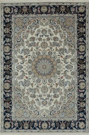 Indo Nain 9x12 Blue Wool w/Viscose Area Rug