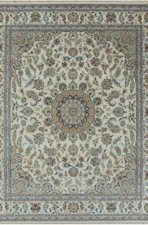 Indo Nain 4x6 Ivory Wool w/Viscose Area Rug