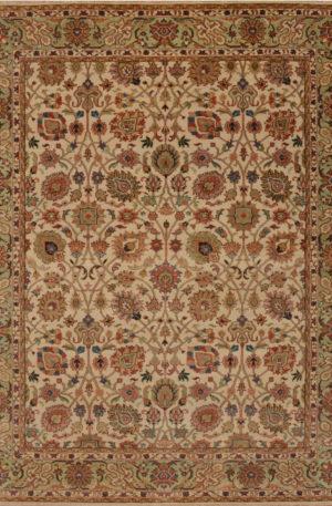 Indo Heriz 8x10 Beige Wool Area Rug