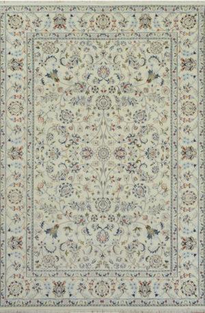 Indo Nain 6' Square Ivory Wool w/ Viscose Area Rug
