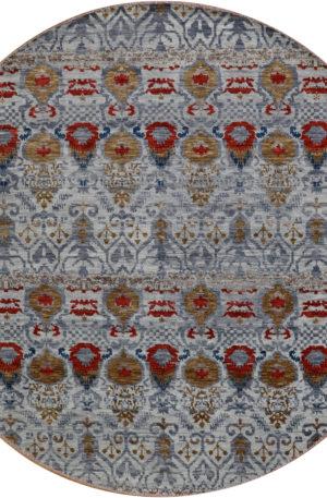 Indo Soft Melody 3' Round Grey Wool Area Rug