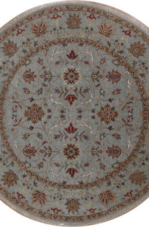 Indo Zeigler 8' Round Green Wool Area Rug