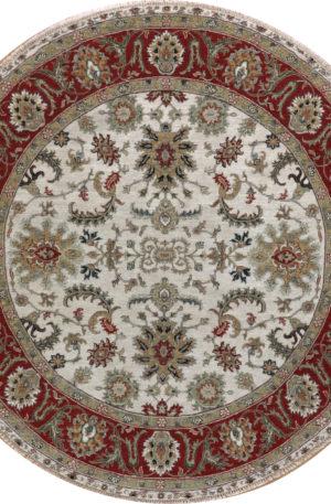 Indo Zeigler 8' Round Ivory/Red Wool Area Rug